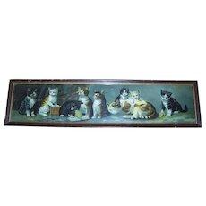 Sweet Victorian Chromolithograph Yard Long Framed Kitty Cat Kitten Print Framed