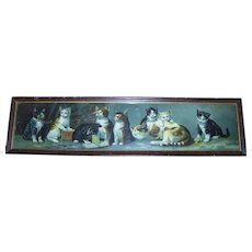 Sweet Victorian Chromolithograph Yard Long Framed Kitty Cat Kitten Print Framed