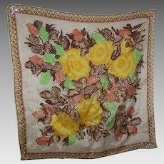 Vintage Acetate Blend Floral Diamond Circle Themed Ladies Fashion Scarf