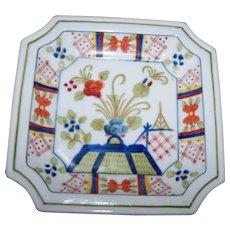 Beautiful Vintage Japanese Hand Painted Imari Style  Square Porcelain Dish