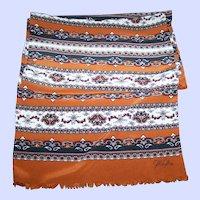 Designer Signed CASCA Long Rectangular Silk Scarf with Fringes