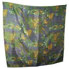 WOW Wearable ART Psychedelic Print Fashion Scarf Hand Rolled All Acetate Hand Printed