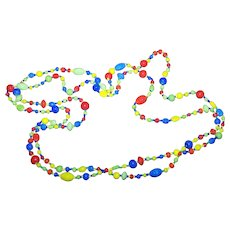 Such A Pretty Colorful Small  Glass Bead Necklace Fun To Wear