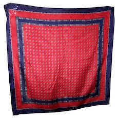 Delicate SIlk Chain Link Belt Buckle Bow Intertwined Circle theme Silk Scarf Red White Blue