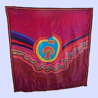 A Colorful Vibrant Abstract Op ART Print Silk Scarf Wearable ART