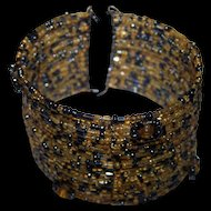 Pretty Vintage Gently Used Seed Glass Bead Memory Wire Wrap Bracelet