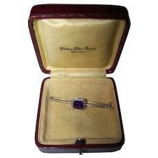 A Vintage  Delicate Purple Amethyst 10 K White Gold Bar Pin In Original BIRKS Box
