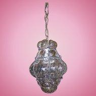 Delicate Mid-Century Seguso Murano Caged Hand Blown Glass Light Fixture