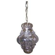 Delicate Mid-Century Seguso Murano Caged Hand Blown Glass Light Fixture