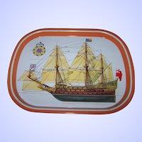 Vintage Tin Litho Nautical Souvenir Tray Soverign of the Seas
