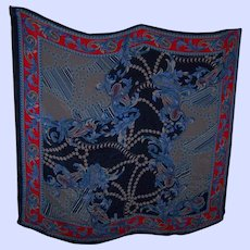 What A Beautiful Large Decorative Pure Silk Ladies Fashion Scarf Made in India