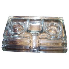 Industrial Era Clear Glass 2 Bottle Inkwell Desk Organizer Pen & Clip Holder Office  Home Decor Accent
