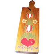 Folk Art Large Scissor or Knife Wooden Hand Painted Norwegian / Dutch Style Wall Mount Holder  Wall Pocket