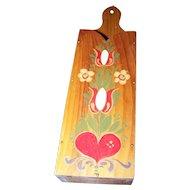 Folk Art Large Scissor or Knife Wooden Hand Painted Norwegian / Dutch Style Wall Mount Holder  Wall Pocket