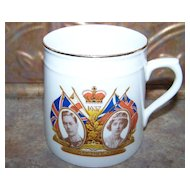 Vintage  Souvenir Royalty Coronation Mug Delphine China 1937