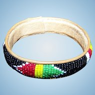 A Pretty Vintage  Glass Seed Bead Loom Style Bangle Bracelet On Leather