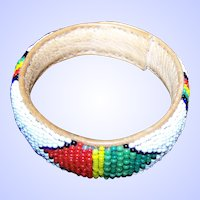 Hand Made Seed Glass Bead Loom Style Bangle Bracelet on Leather White Ground