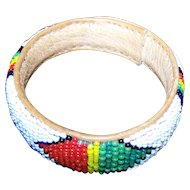 Seed Glass Beaded Loom Style Bangle Bracelet on Leather White Ground