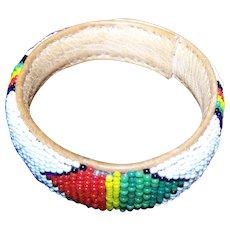 Seed Glass Beaded Loom Style Bangle Bracelet on Leather White Ground
