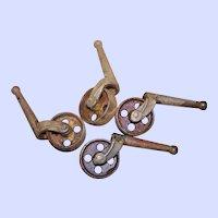 4 Vintage Metal Castor Wheels Furniture Hardware Swivel Roll Mini Castors Rustic