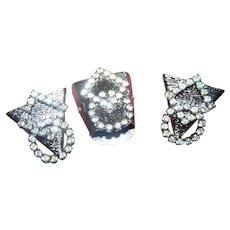 Deco Era White Metalware Rhinestone Screw Style Collar Tips and Lever Back Belt Buckle Tip
