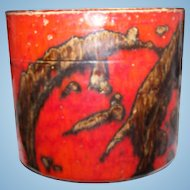 Made in West German Mid-Century  Lava Era Orange and Brown Pottery Planter with Factory Flaws
