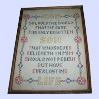 Hand Stitched Cross Stitch  Sampler Motto Prayer Framed Wall Textile ART