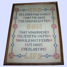 Hand Stitched Cross Stitch  Sampler Motto Prayer Framed Wall Textile ART