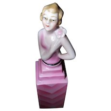 Art Deco Era Porcelain Made in Germany Hand Painted Figural Perfume Bottle with Cork and Dabber