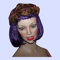 Vintage Mink Fur and Silk Ladies Fascinator Style Ladies Fashion Accessory Hat Head Band