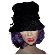 1950s Black Velvet Bucket Hat With Grosgrain Ribbon Decoration by Christine Original  Park Avenue New York USA Union Label