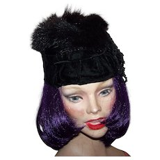 Lovely Black Velvet Rabbit Fur Sequin  Flapper Girl Style Vintage Ladies Fashion Hat