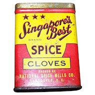 Advertising Tin  Singapores Best Spice Cloves National Spice Mills Company  Vancouver BC Canada