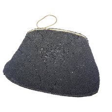 Lovely Vintage 50's era Black Glass Seed Bead Ladies Fashion Purse  Made in France by Walborg