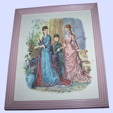 Artist Signed Ladies of Fashion Paper Print Framed Under Glass As Found