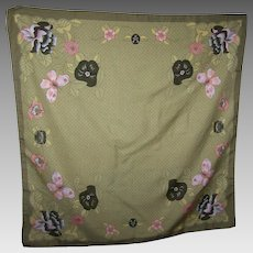 Sweet Flower Butterfly Themed Ladies Fashion Scarf Accessory Street Made in Italy