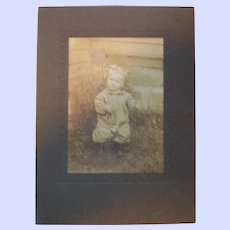 Sweet Vintage Cabinet Card Sepia Toned Photograph of A Lovely Little Girl