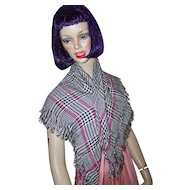 A Lovely Fashionable  Echo Rayon Plaid Fringed Shawl Wrap Scarf