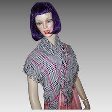 A Lovely Fashionable  Echo Rayon Plaid Fringed Shawl Wrap Scarf