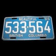 CANADA Passenger  Auto Car  LICENSE PLATE  533-564 Beautiful British Columbia 65
