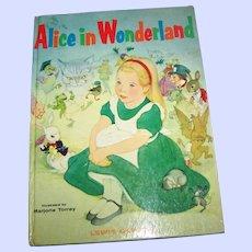Hard Cover Children's Illustrated Book Alice in Wonderland C. 1955