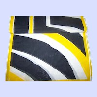 Designer Signed Vera ( Neumann ) Long Rectangular Yellow Black White Geometric Print Scarf
