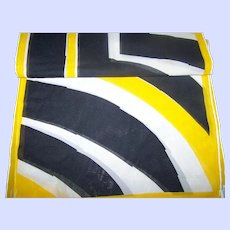 Designer Signed Vera ( Neumann ) Long Rectangular Yellow Black White Geometric Print Scarf