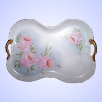 A Beautiful Hand Painted Artist Signed Porcelain Blank Tray  Pink Rose Floral Motif