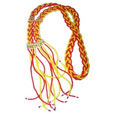 Pretty Glass Seed Bead Tassel Style Necklace Orange Yellow Green White