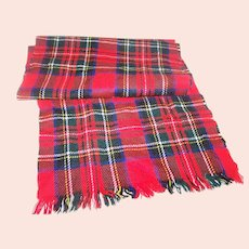 Lovely Vintage WPL MI Japan Plaid Fringed Scarf Unisex Fashion Accessory