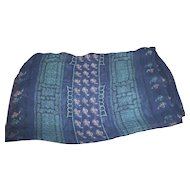Lovely Long Rectangular Sheer Silk Decorative Navy Blue Fashion Scarf