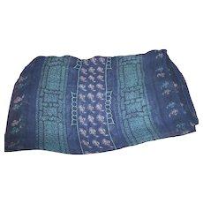 Lovely Long Rectangular Sheer Silk Decorative Navy Blue Fashion Scarf