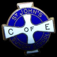 Tiny Lapel Pin Enamel 10K Gold C of E ST John's Sunday School Trophy Craft
