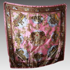Vintage Souvenir Travel Acetate Scarf Tourist Attractions of ROMA  Italy